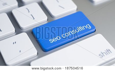 Computer Keyboard with SEO Consulting - Search Engine Optimization Consulting Blue Button. SEO Consulting - Search Engine Optimization Consulting Written on the Blue Key of Modern Keyboard. 3D Render.