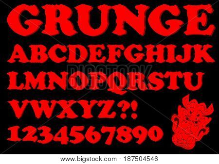 Alphabet in red grunge style, devil designed uppercase letters, numbers, question and exclamation mark, devil head included, vector EPS 10