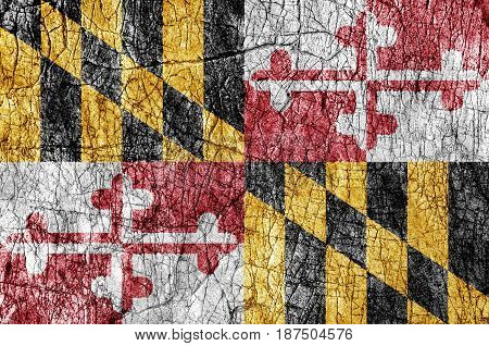 Grudge stone painted US Maryland flag close