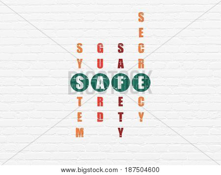 Privacy concept: Painted green word Safe in solving Crossword Puzzle