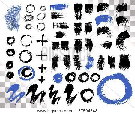 Vector Set of brush acrylic strokes. Black blue color on white background. Hand painted grange elements. Ink drawing. Dirty artistic design . Place for text, quote, information, company name