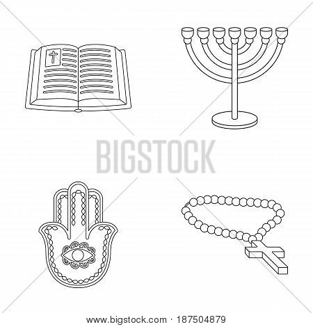 Bible, menorah, hamsa, orthodox cross.Religion set collection icons in outline style vector symbol stock illustration .