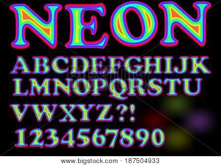 Alphabet in vivid neon design, uppercase letters, numbers, question and exclamation mark, vector EPS 10