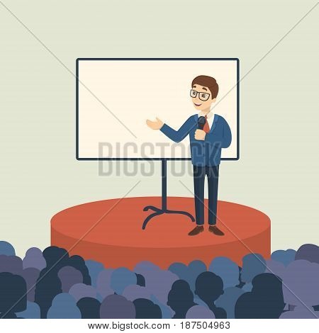 Business presentation with audience. Man presenter on the stage with template screen.