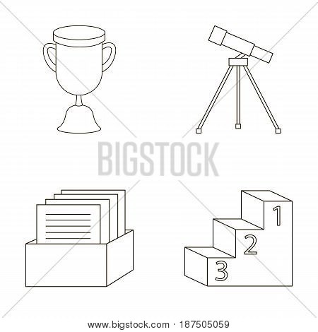 Cup, prize, telescope, catalog in a box and pedestal of honor. School set collection icons in outline style vector symbol stock illustration .
