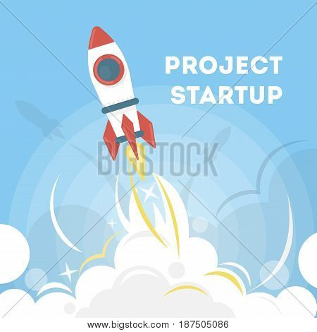 Rocket startup project. Red and white space ship as a concept of new project.