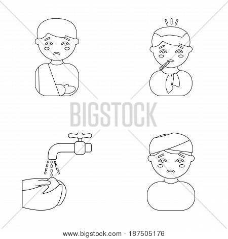 A man with a broken arm in a cast, a patient with a thermometer in his mouth in a scarf, hands under a stream of water, wash, a boy with a bandaged head bandage. Sick set collection icons in outline style vector symbol stock illustration .