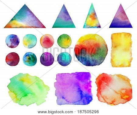Vector illustration. . Colorful watercolor splashes isolated on white background. Rainbow blots. Hand drawn geometric elements. Bright and teen. Brush paint. Set of 17 spots