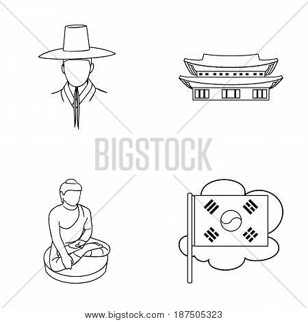 Korean in national headdress, Korean monastery, Buddha figurine, national flag. South Korea set collection icons in outline style vector symbol stock illustration .