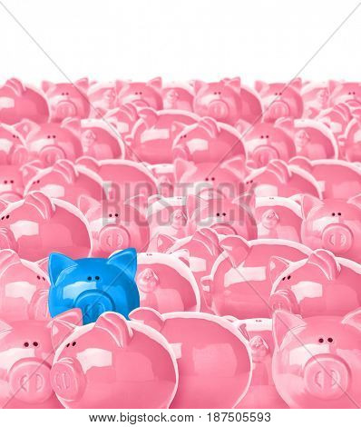 Blue piggy bank being different from others on white background