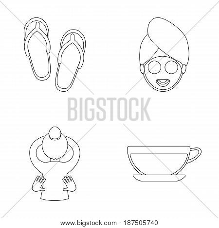 Slippers for the spa salon, a girl's face with a cucumber mask with a towel on her head, massage with her hands on her back, a cup with a refreshing drink.Spa set collection icons in outline style vector symbol stock illustration .
