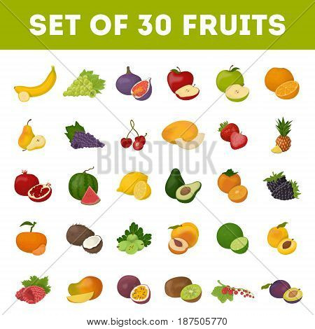 Set of fruits on white background. Bananas and apples, cherry and melon.