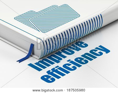 Business concept: closed book with Blue Folder icon and text Improve Efficiency on floor, white background, 3D rendering