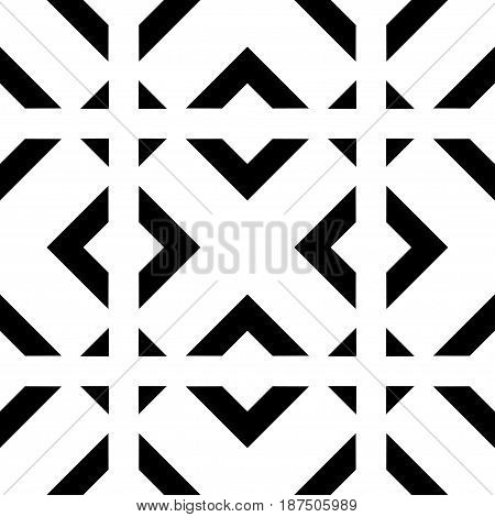 Abstract Art Deco Black Geometric Ornamental Seamless Pattern Background. Template For Design