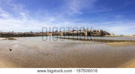 View of Kasbah of the Udayas and ancient Medina in Rabat from the harbor in Sale Morocco.