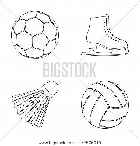 A soccer ball, figure skating skates, a shuttlecock for a badminton, a ball for volleyball. Sport set collection icons in outline style vector symbol stock illustration .