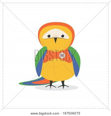 Parrot funny little cute toy, isolated bird
