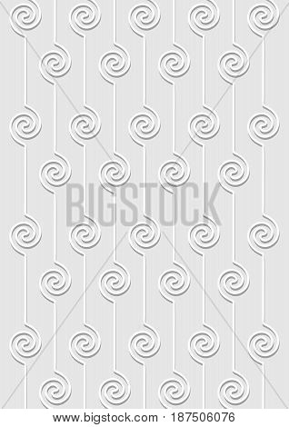 Light gray background with vertical stripes composed of spiral shapes, overlay template, fine shadows vector EPS 10