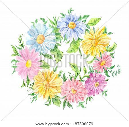 Watercolor drawing. Wreath of pink blue and yellow flowers. Round frame of chamomiles