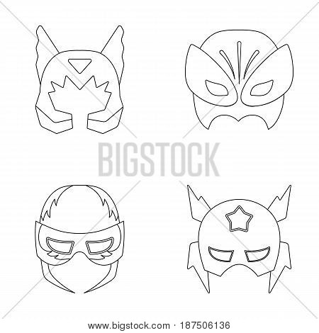 Mask on the head, helmet.Mask super hero set collection icons in outline style vector symbol stock illustration .