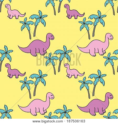 Childrens colorful seamless pattern with the image of funny dinosaurs