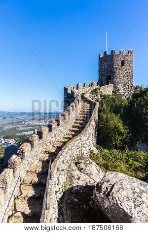 Ancient castle of moors in Sintra, Portugal