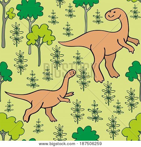 Funny Dinosaurs Seamless Pattern.eps
