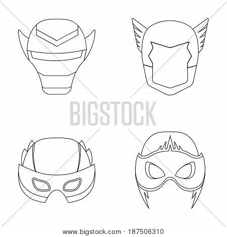 Helmet, mask on the head.Mask super hero set collection icons in outline style vector symbol stock illustration .