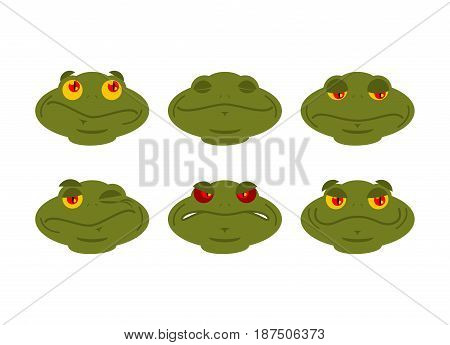 Frog Emoji Set. Toad Avatar Good And Evil Amphibious. Sleeps And Winks. Joy And Sadness Face Reptile