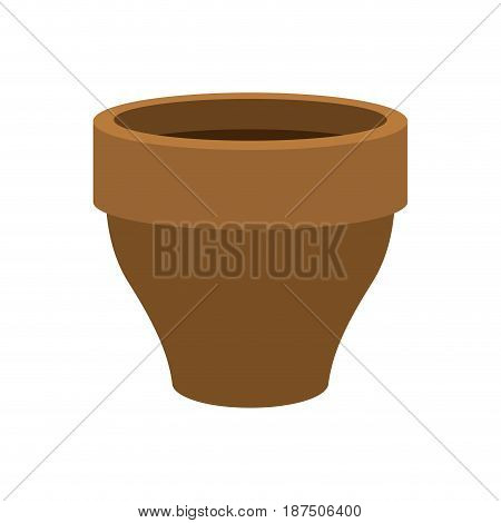Flower Pot Empty  Isolated. Brown Clay Flowerpot On White Background