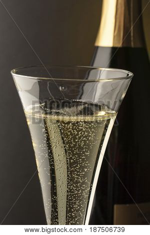champagne glass bottle with champagne