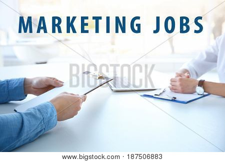 Marketing jobs concept. Business people on meeting in office