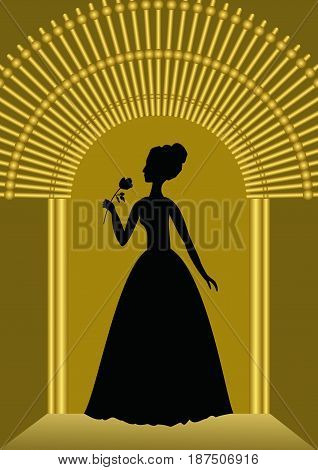 Black lady with flower silhouette in golden gate, luxurious template for ball invitation, announcement in vintage style, vector EPS 10