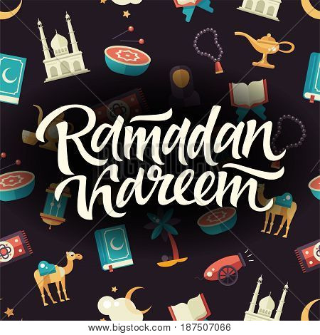 Ramadan Kareem - modern vector flat design postcard template with seamless pattern, icons of islamic holiday, culture, traditional greeting, hand written lettering. Muslim male, female, camel, cannon, mosque, prayer beads, lamp, drum