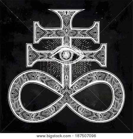 Ornate Satanic Cross with evil eye, known as the seal of demon Leviathan, ornate alchemy symbol. Talisman magic. Vector illustration isolated. Tattoo design, religion, print for occult Gothic themes.