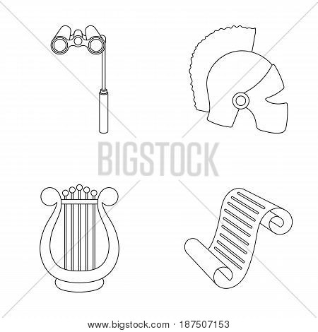 Theatrical binoculars, a helmet, a harp and a paper scroll. The theater set collection icons in outline style vector symbol stock illustration .