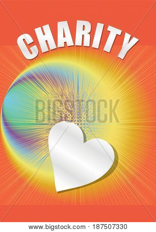 Charity poster in with paper heart and rainbow rays on orange background, vector EPS 10