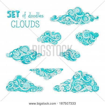 Vector Set Of Cartoon Clouds.
