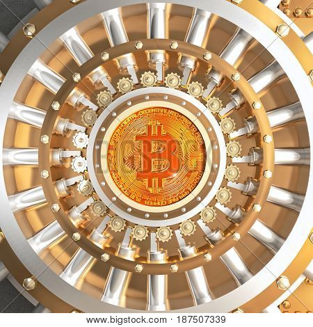 concept of bitcoin crypto currency safe 3d rendering image