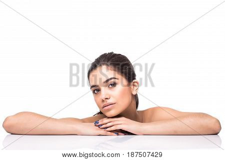 Beautiful Young Smiling Latina Lying On The White. Skin, Cosmetology.