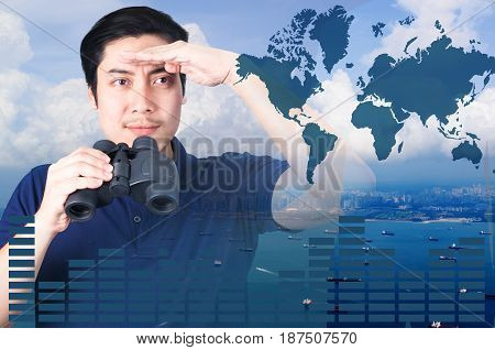 Double exposure of Asian investor with binoculars. Over seascape view from aerial and financial graph on blurred building background import export concept Elements of this image furnished by NASA.