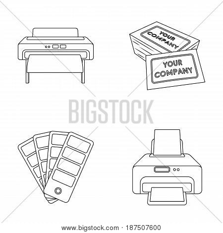 Printer, credit card, color palette.Typography set collection icons in outline style vector symbol stock illustration .