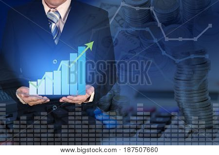 Double Exposure Of Business Growth Financial Graph Chart With Arrow On Businessman Hand With Coins C