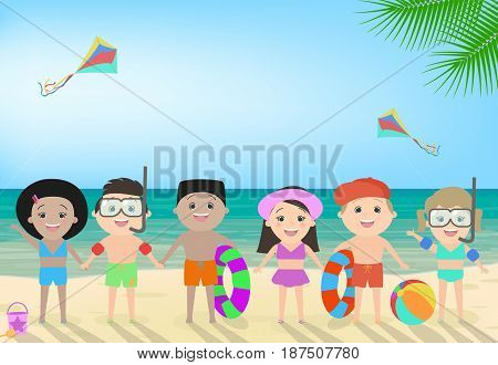 Children on the beach. Beach children's recreation children's camp different nationalities. Vector cartoon