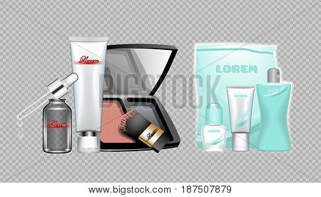 Digital vector skin care cream, lotion, mascara and mirror cosmetic container set mockup collection, package, magazine design. Transparent and shine template, realistic 3d style