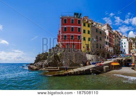Riomaggiore in Cinque Terre - Italy - architecture background