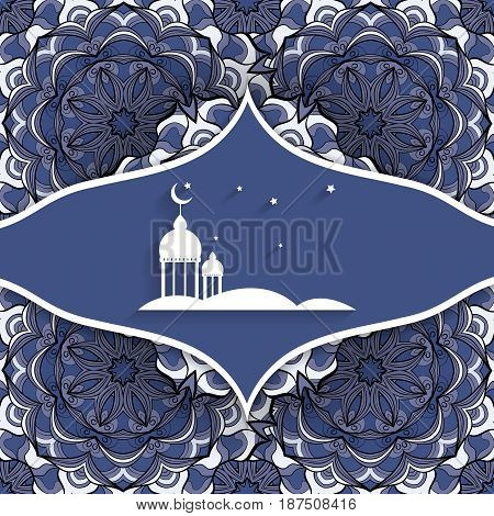 Ramadan Kareem vector design over seamless background with copy space. Elements for holiday design. Eps10