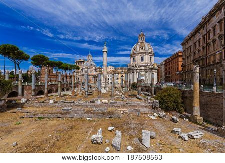 Roman forum ruins in Rome Italy - architecture background
