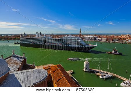 Cruise ship in Venice Italy - travel and architecture background