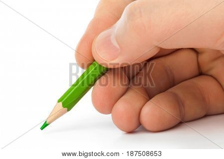 Pencil in hand isolated on white background